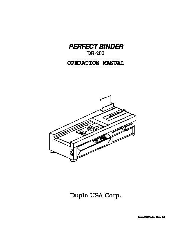 Duplo duplo DB 200 manual de instrucciones pdf Diagramas