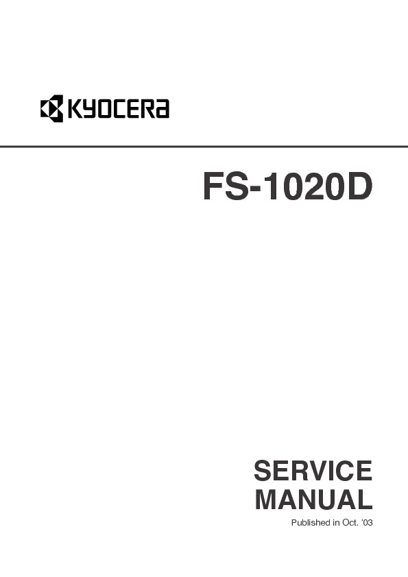 Kyocera Mita FS 1020D SM UK pdf Diagramas de Impresoras