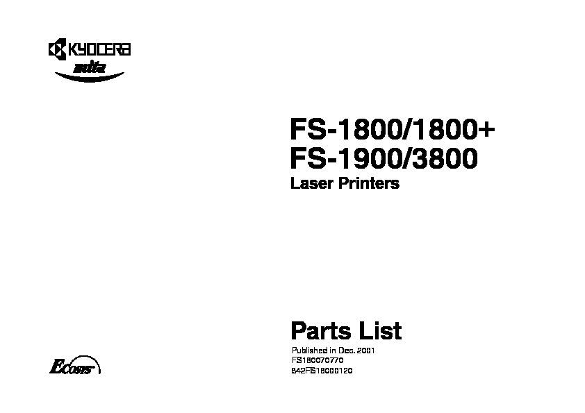 Kyocera Mita FS 1800 1800+ 1900 3800 pdf Diagramas de