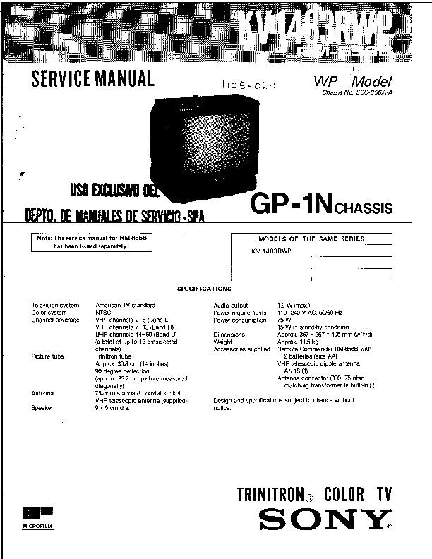 SONY KV 1483RWP KV 1483RWP pdf Diagramas de Televisores