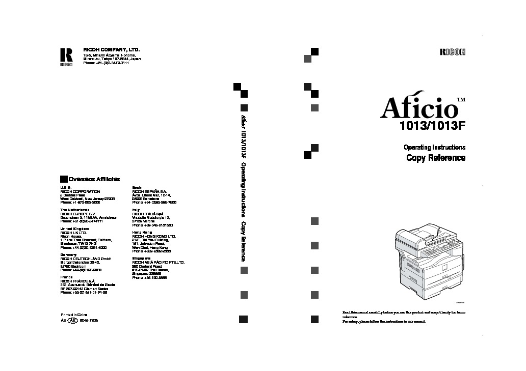 Ricoh Aficio 1013 Aficio 1013 pdf Diagramas de Impresoras
