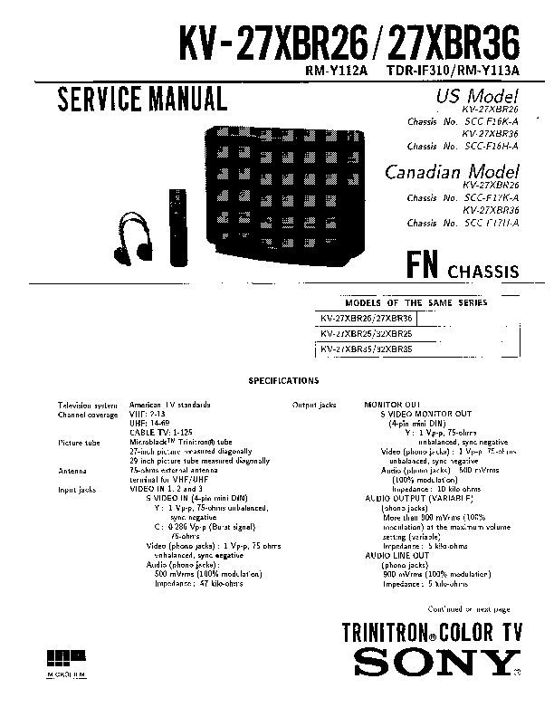 SONY KV 27XBR26 27XBR36 pdf Diagramas de Televisores Lcd y