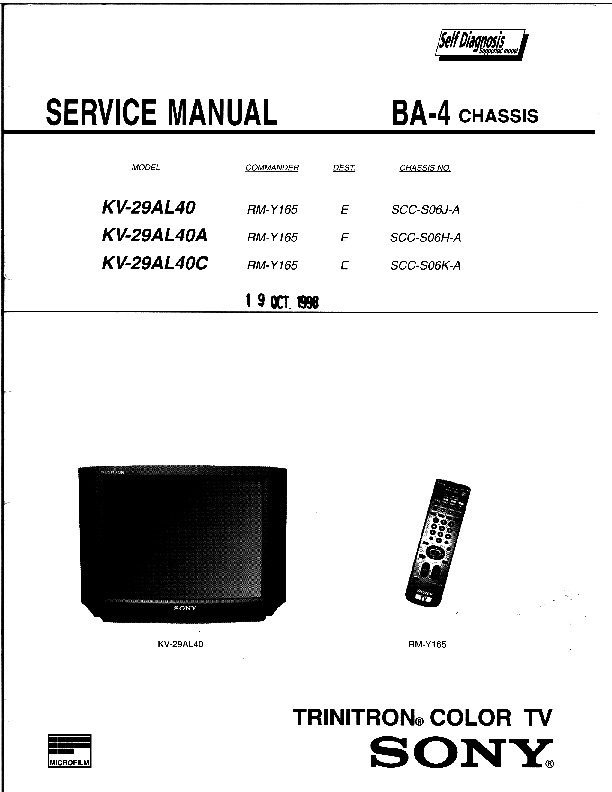 SONY KV 29AL40, KV 29AL40A, KV 29AL40C BA 4 KV 29AL40C pdf