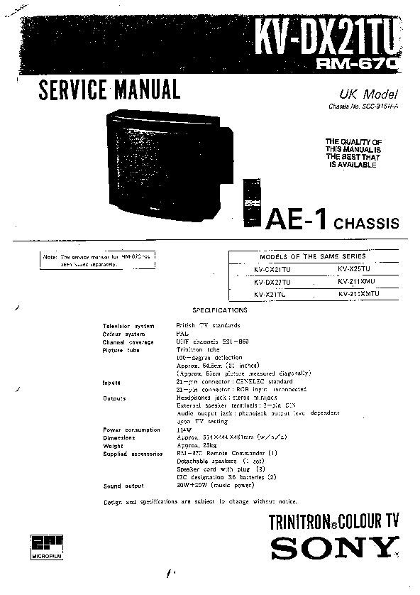 SONY SONY KV 211XMTU pdf Diagramas de Televisores Lcd y