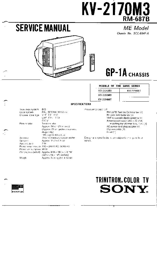 SONY SONY+KV 2170 2192+M3 2184 2194+MT+GP 1A pdf Diagramas