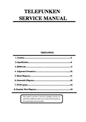 TELEFUNKEN telefunken tkp2147stx= Pixys TVP2190 pdf