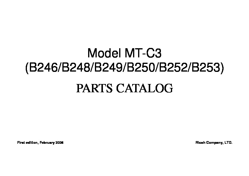 Ricoh B246, B248, B249, B250, B252, B253 Parts Catalog pdf