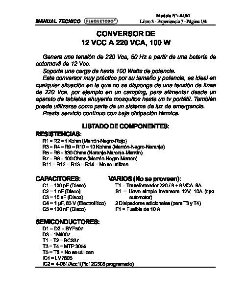 general conversor 100w pdf Diagramas de cargadores