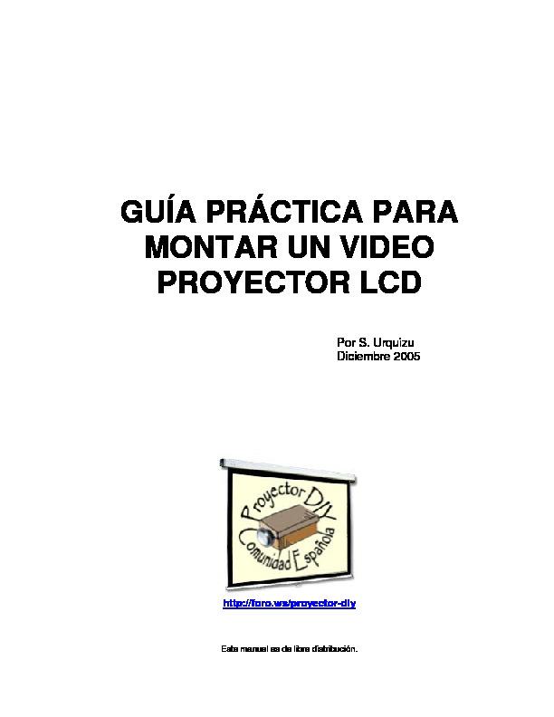 EPSON MANUAL PROYECTOR DIY pdf Diagramas de proyectores