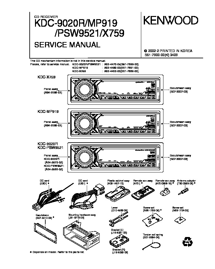 KENWOOD Kenwood KDC 9020R/KDC MP919/KDC PSW9521/KDC X759