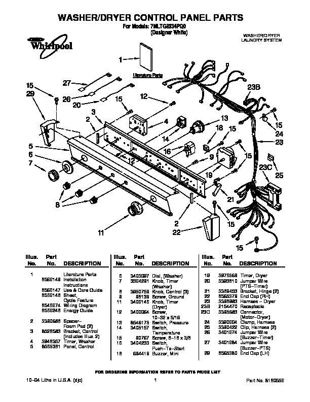 Whirlpool 7MLTG8234PQ0 pdf Diagramas de lavarropas