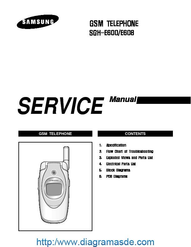 Samsung SGH E600 service manual pdf Samsung SGH E600