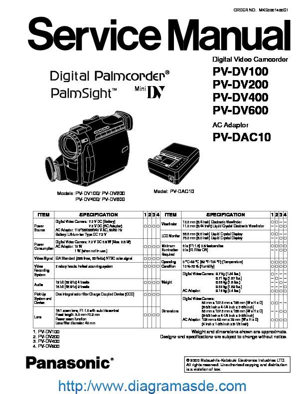 Panasonic PV-DV400 SvcMnls.pdf Panasonic dv-100 service