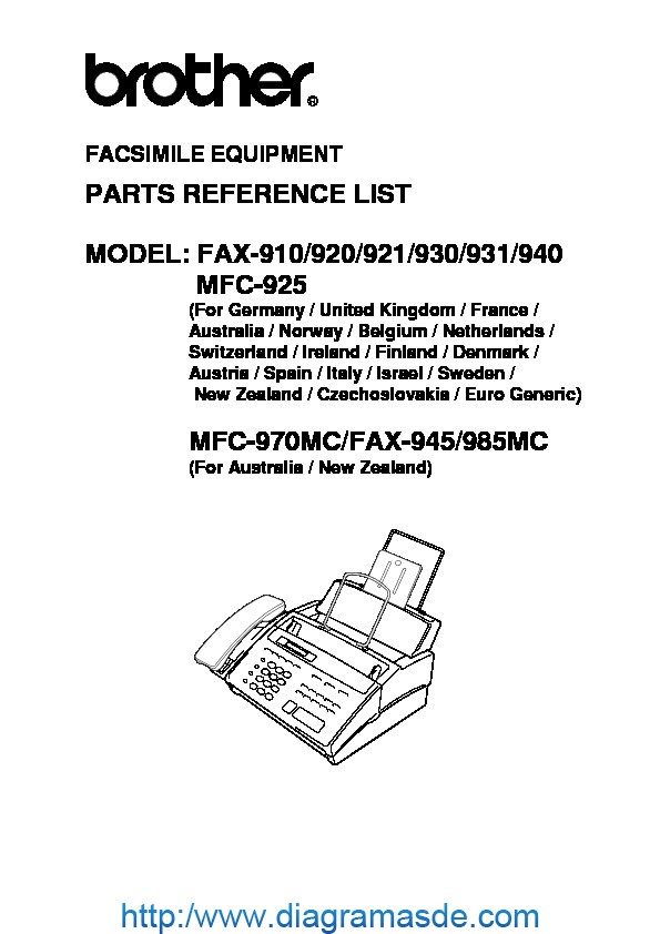 Brother Fax 910, 920, 921, 930, 931, 940, 945, MFC-925