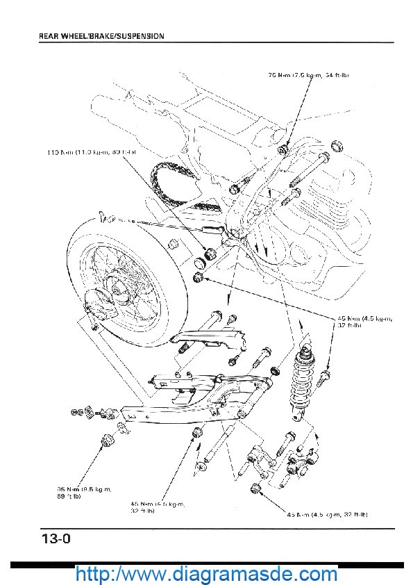 13 Rr wheel brake susp.pdf Honda NX650 Dominator 88-89