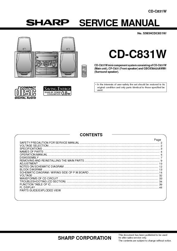 Sharp CD C831W system audio pdf Sharp CD C831W system