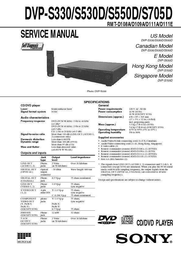Sony DVP S 330 x S 705 D.pdf SONY DVP-S330, DVP-S530D, DVP