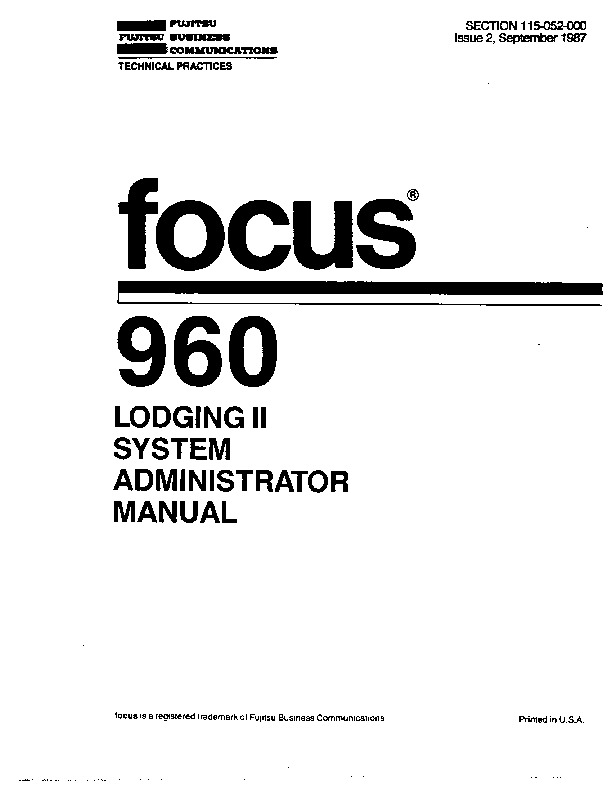 Fujitsu Focus 960 Lodging II System Admin Manual Issue 2