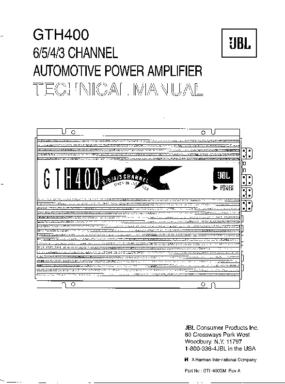 JBL Car Amp GTH400 SERVICE MANUAL.pdf JBL GTH400