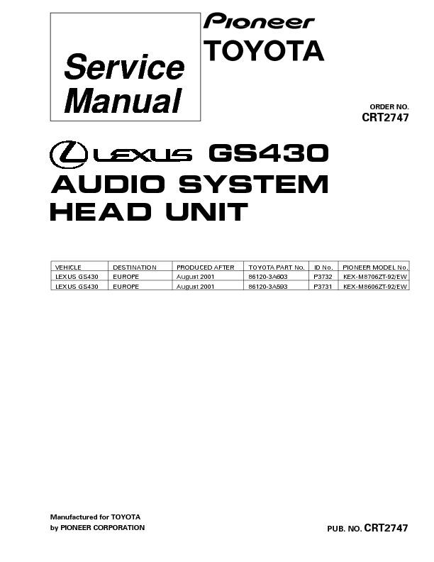 GS430 audio sytem Toyota, suplement6.pdf PIONEER