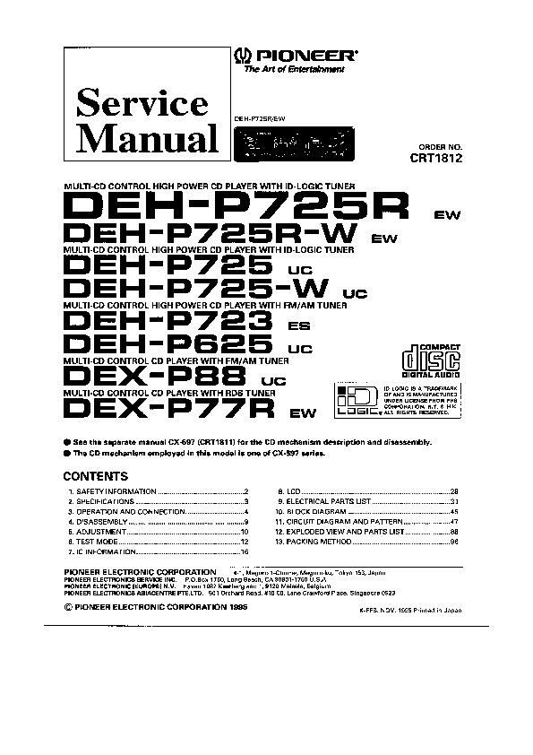 Pioneer-Deh p725 Service Manual z przebiegami.pdf PIONEER
