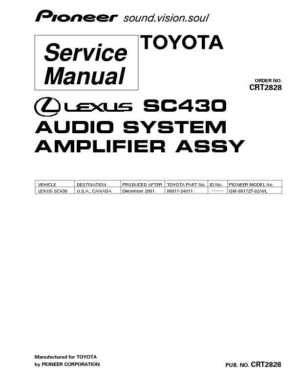 SC430 TOYOTA lexus audio amplifier suplement..pdf PIONEER