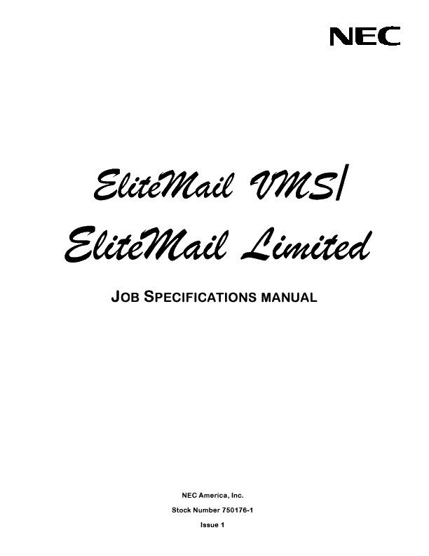 NEC Elite Mail VMS EliteMail Limited Job Specifications