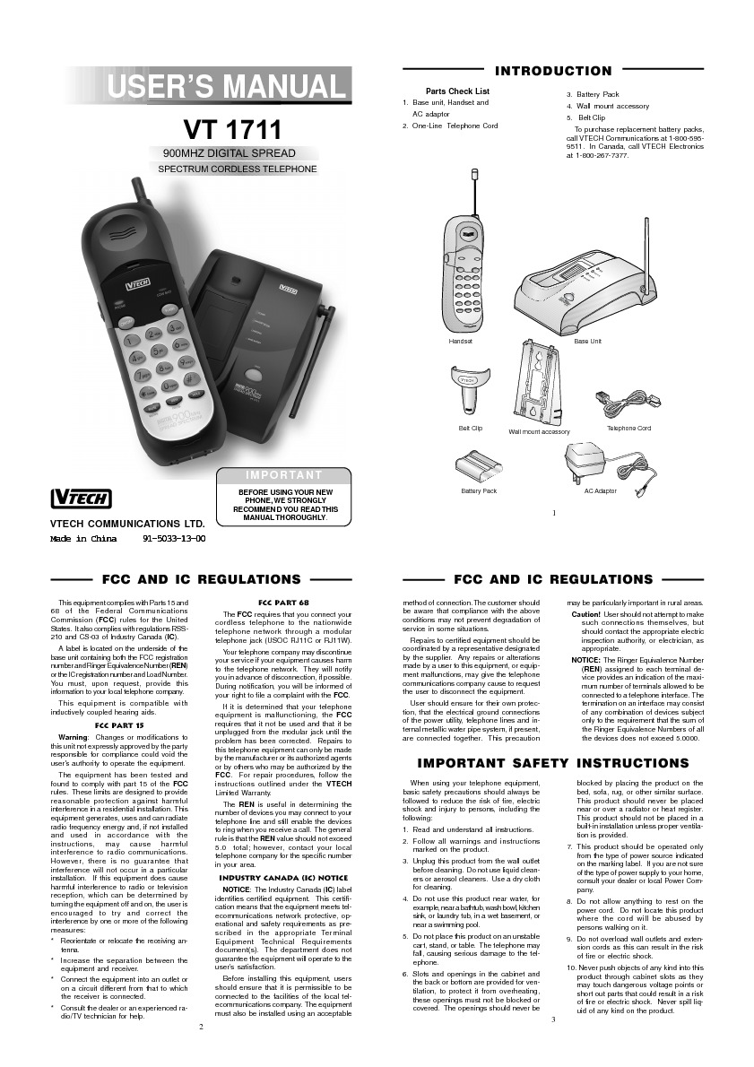 vt1711 Digital 900 MHz telephone.pdf Vtech