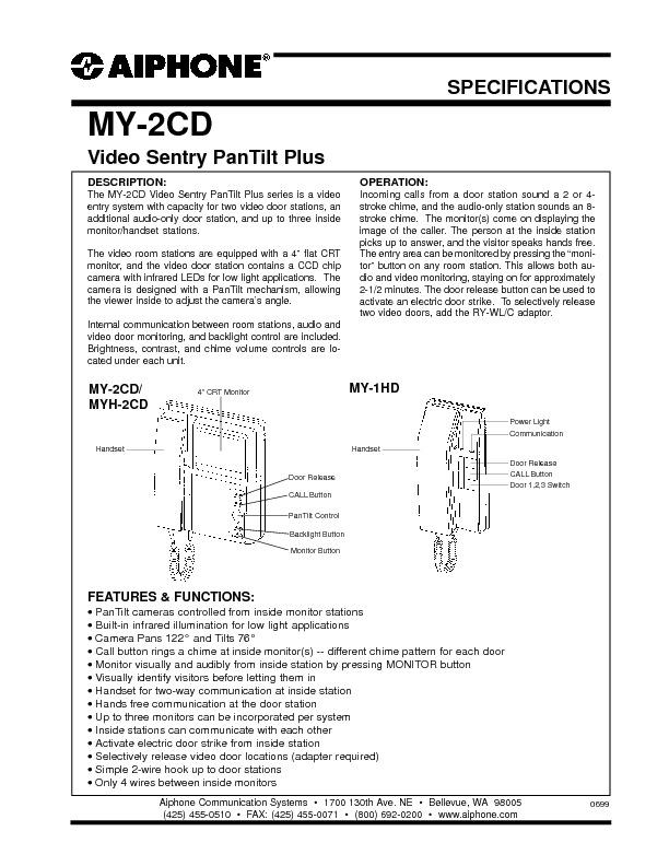 Aiphone MY-2CD Video Sentry PanTilt Plus Spec Sheet.pdf