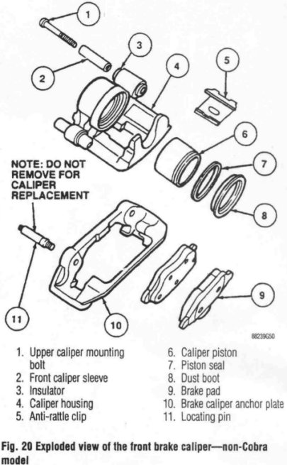 94-98 Mustang Caliper Rebuild Tear Down Diagram