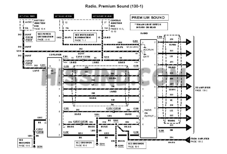 2001-2004 Mustang Factory Radio Diagram to Upgrade Stereo