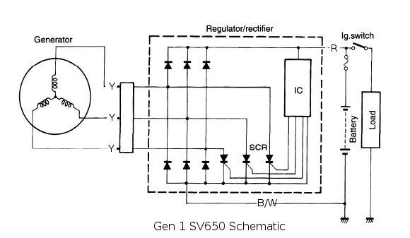 12v 3 Phase Motorcycle Regulator/rectifier Circuit Wiring