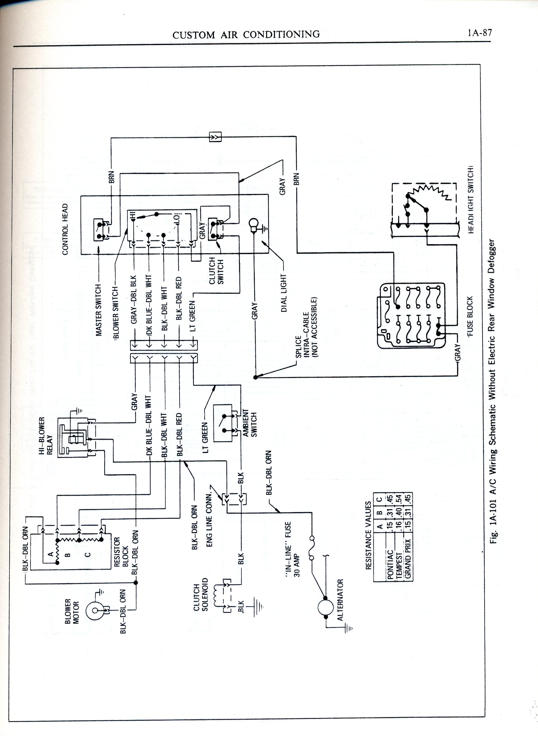 1971 Pontiac Lemans Heater/ac Switch Wiring Diagram