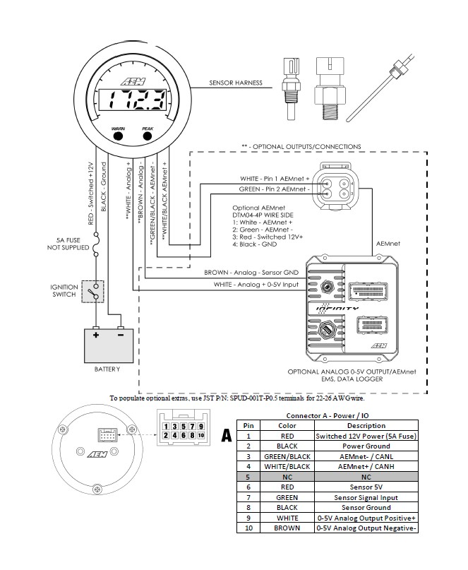 Aem Digital Oil Pressure Gauge Wiring Diagram