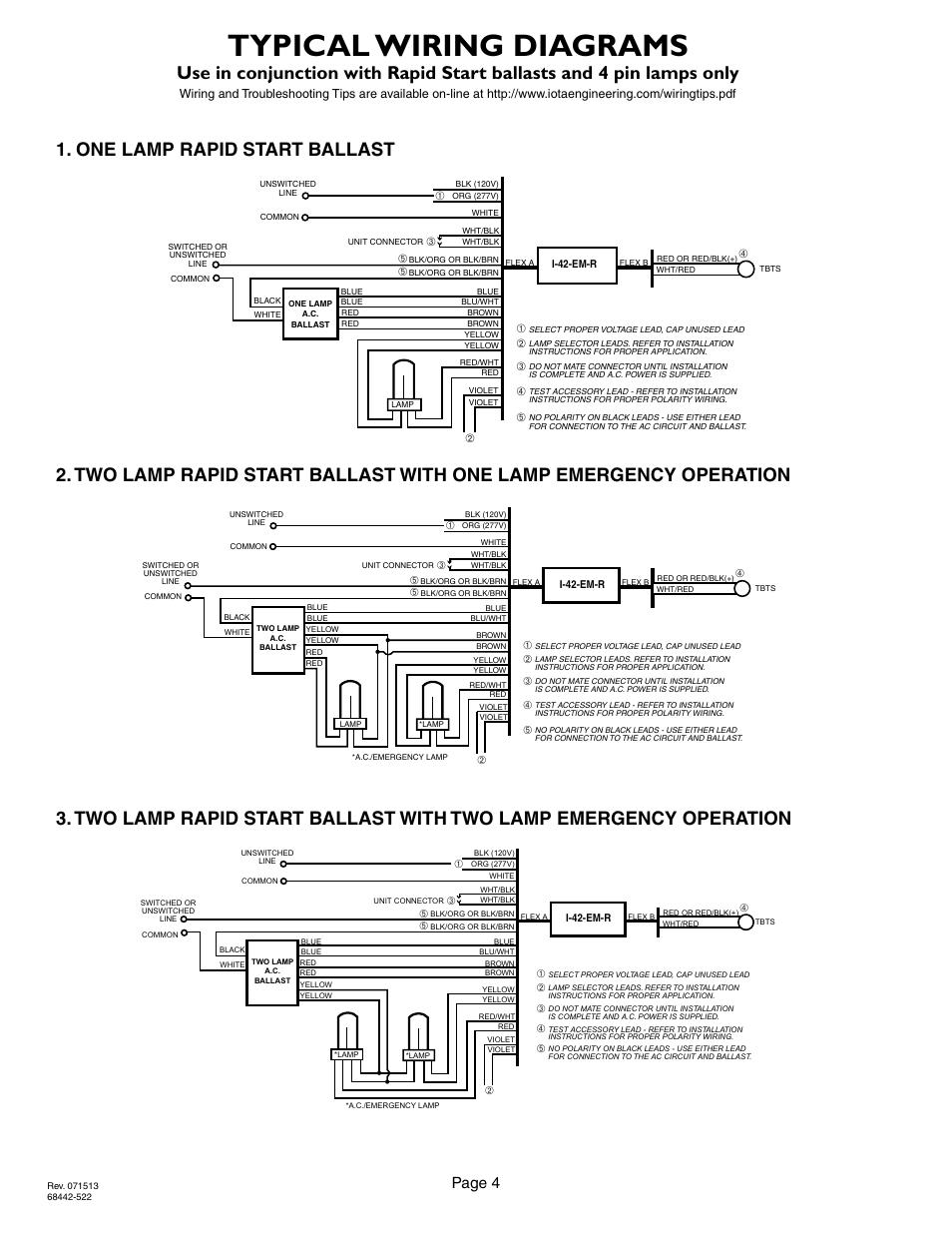 medium resolution of 4 wire diagram ballast