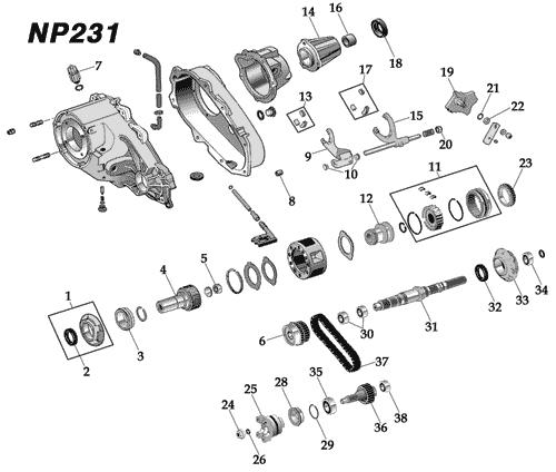 Np231 Transfer Case Diagram