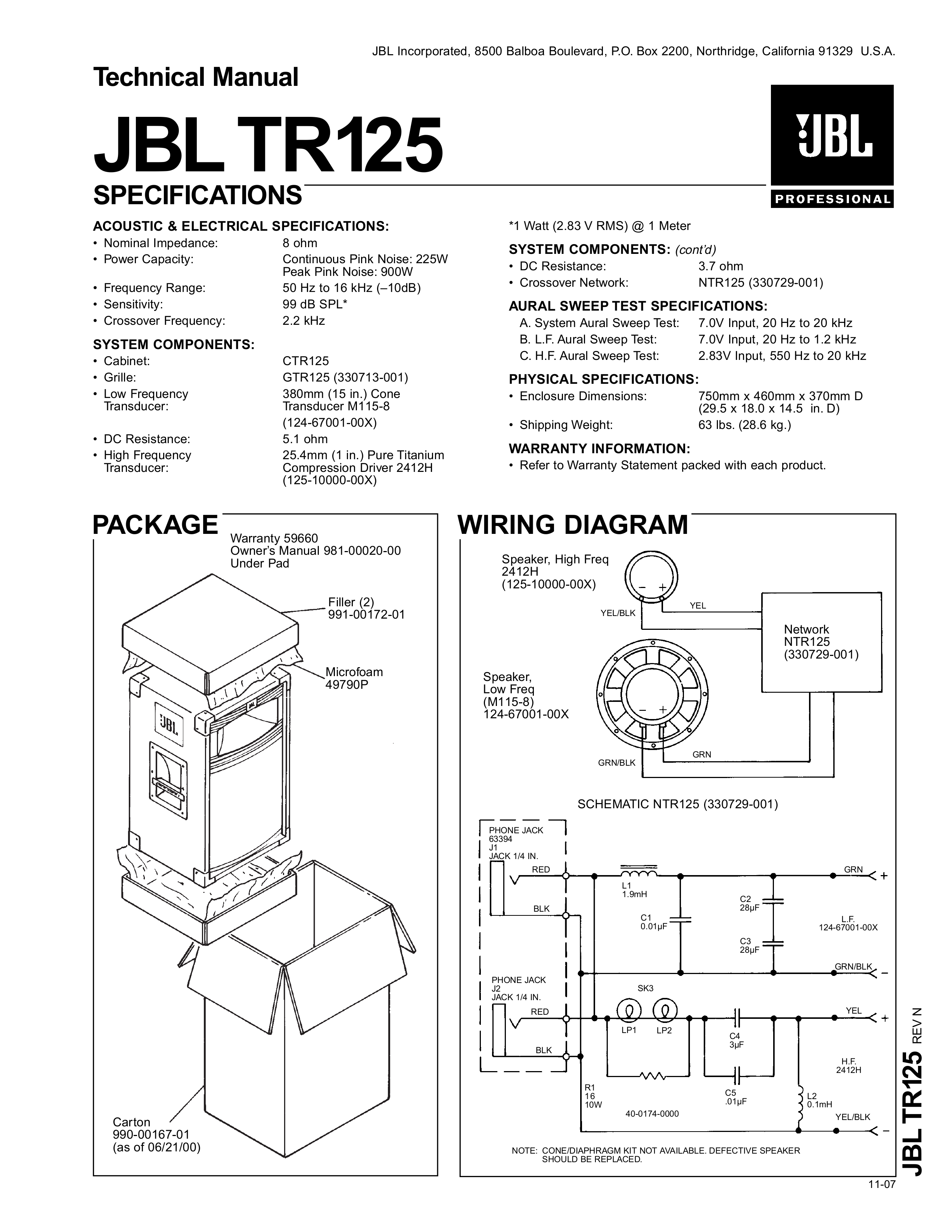 Wiring Diagram Jbl Crossover Network 73233-01