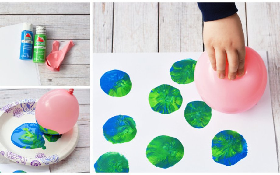 I love how all the colors really pop on the black background. Balloon Stamping Earth Day Craft For Kids Elink