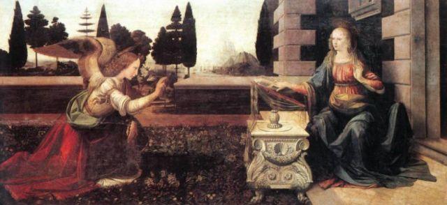 Leonardo Da Vinci, Annunciation (1475). Photo: virtualuffizi.com