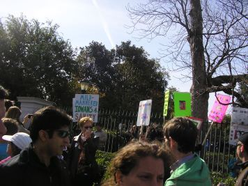 A scene from the rally, on 7th Street between Constitution Avenue and Madison Drive NW. The National Gallery of Art's Sculpture Garden is in the background.