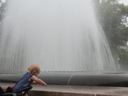 Fiona plays with the water in the fountain at Freedom Plaza at Pennsylvania Avenue and 14th Street NW in downtown Washington, D.C.