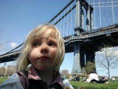 Fiona and Dustin enjoy a picnic at Brooklyn Bridge Park, in the shadow of the Manhattan Bridge.