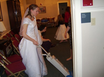 """According to Randy, """"You know it's a Mormon wedding when the bride vacuums."""""""