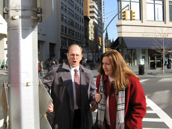 """""""It's cold!"""" Randy exclaims, crossing Broadway with Tania."""