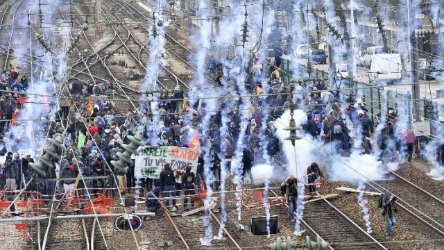 Occupied railway in Rennes