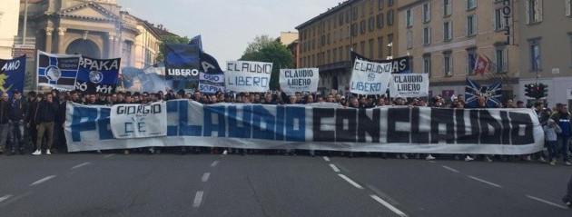 Les ultras de l'Atalanta manifestent pour Claudio, 25 années cumulées d'interdiction de stade