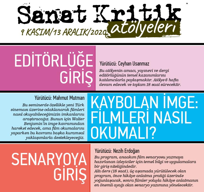 Sanat Kritik'ten Yayıncılık ve Sinema Atölyeleri (9 Kasım – 13 Aralık 2020)