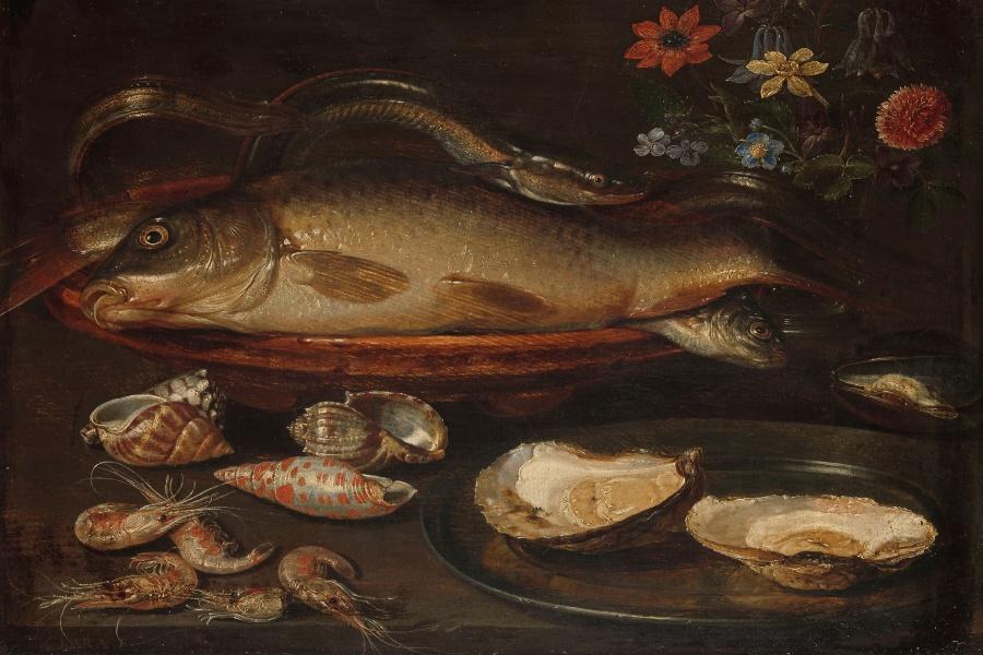 Clara Peeters. Bodegón con cangrejo, camarones y langosta, óleo sobre tabla, Museo de Bellas Artes de Houston.