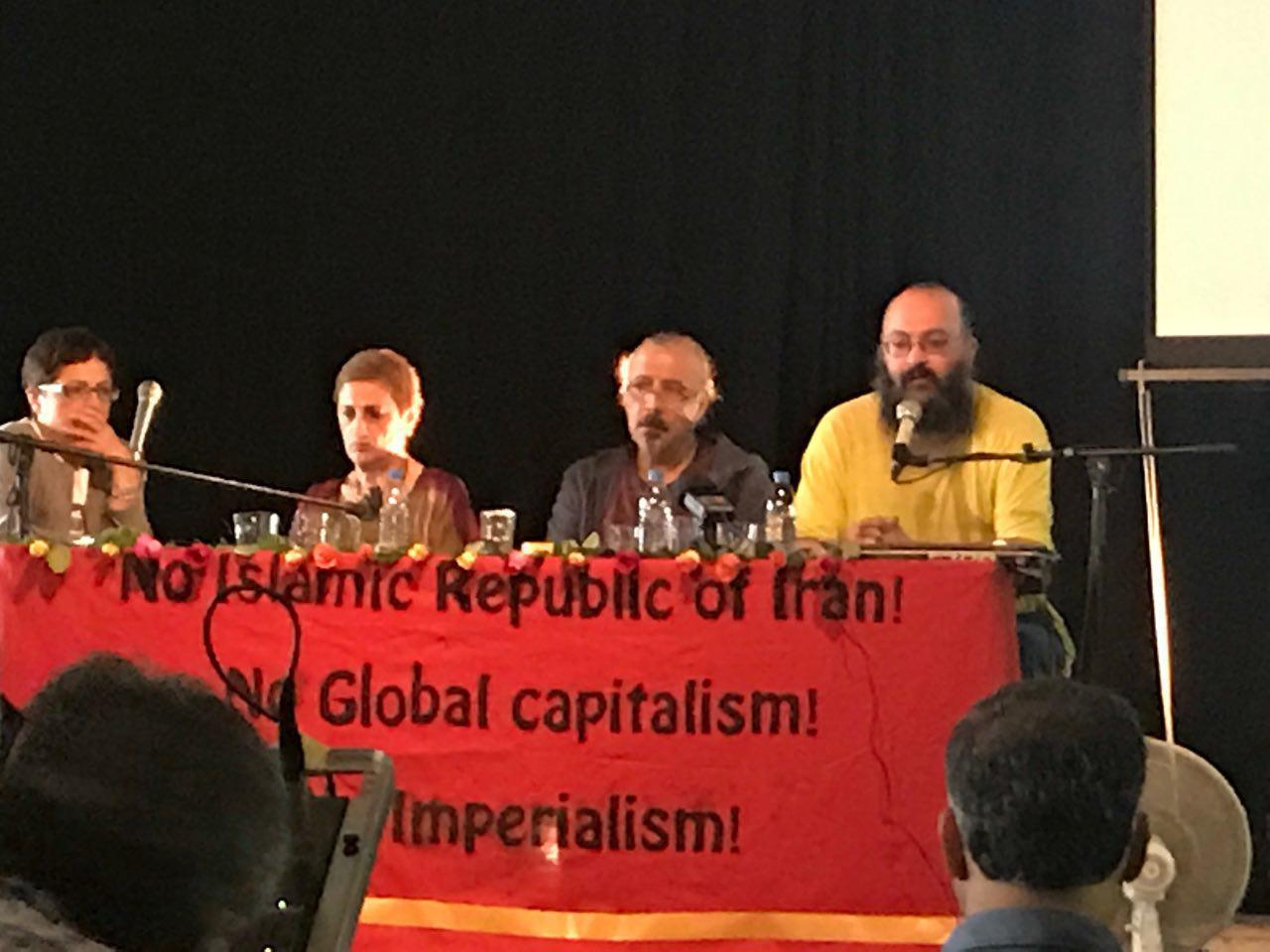 چهل سال بعد از انقلاب ۵۷ و سی سال بعد از کشتار تابستان ۶۷: میزگرد نخست، از چپ میلا مسافر،فرخنده، جلال سعیدی، هژیر پلاسچی