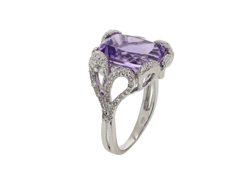 ring Amethyst and diamond vintage style ring in silver